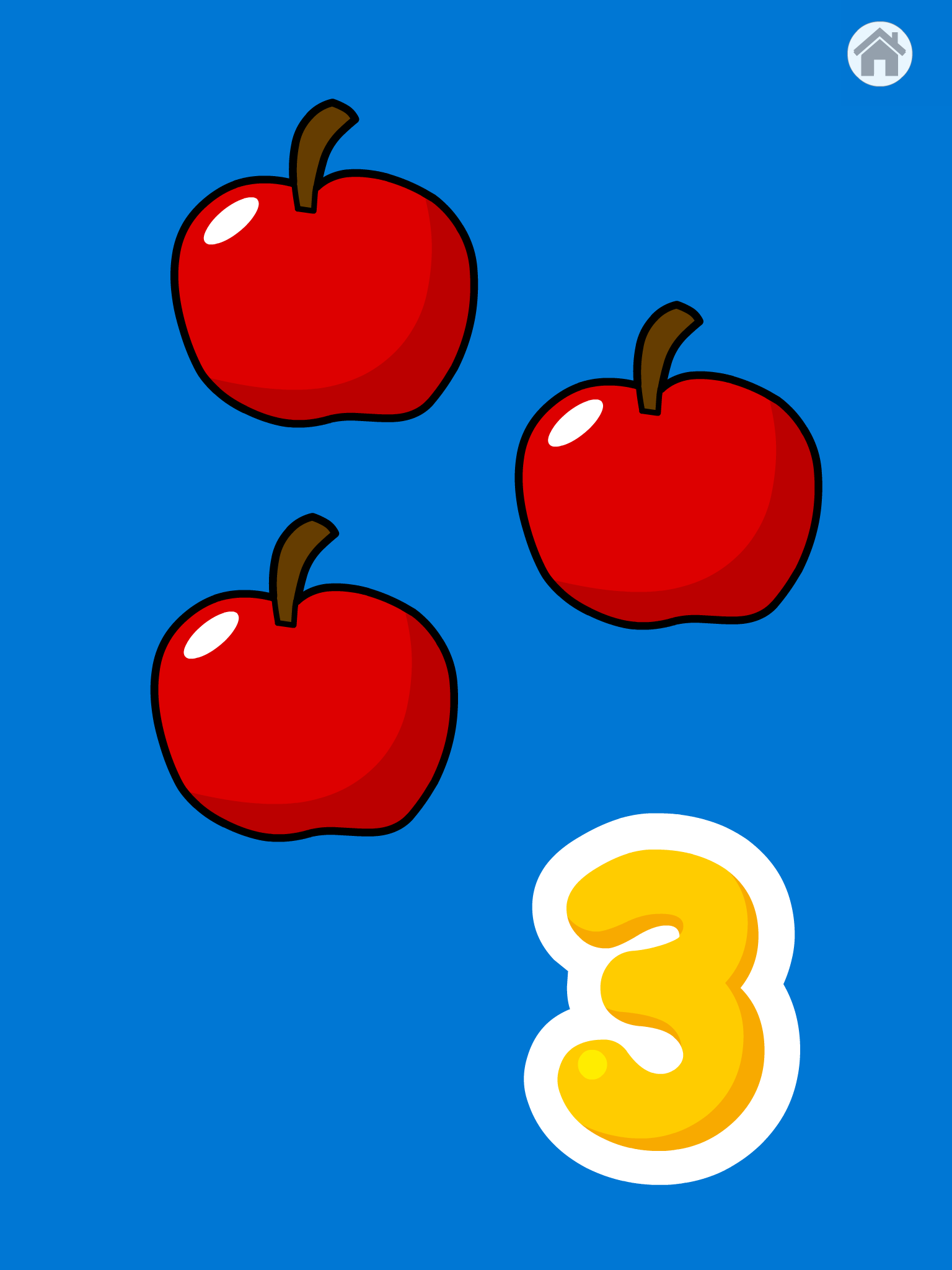 Screenshot of 123 game with 3 red apples and a bold number three.