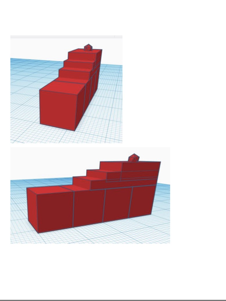 2 Images of 3D computer model of 3D stairs from the front and from the side.