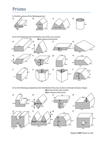 Prism worksheet with 24 3D images.