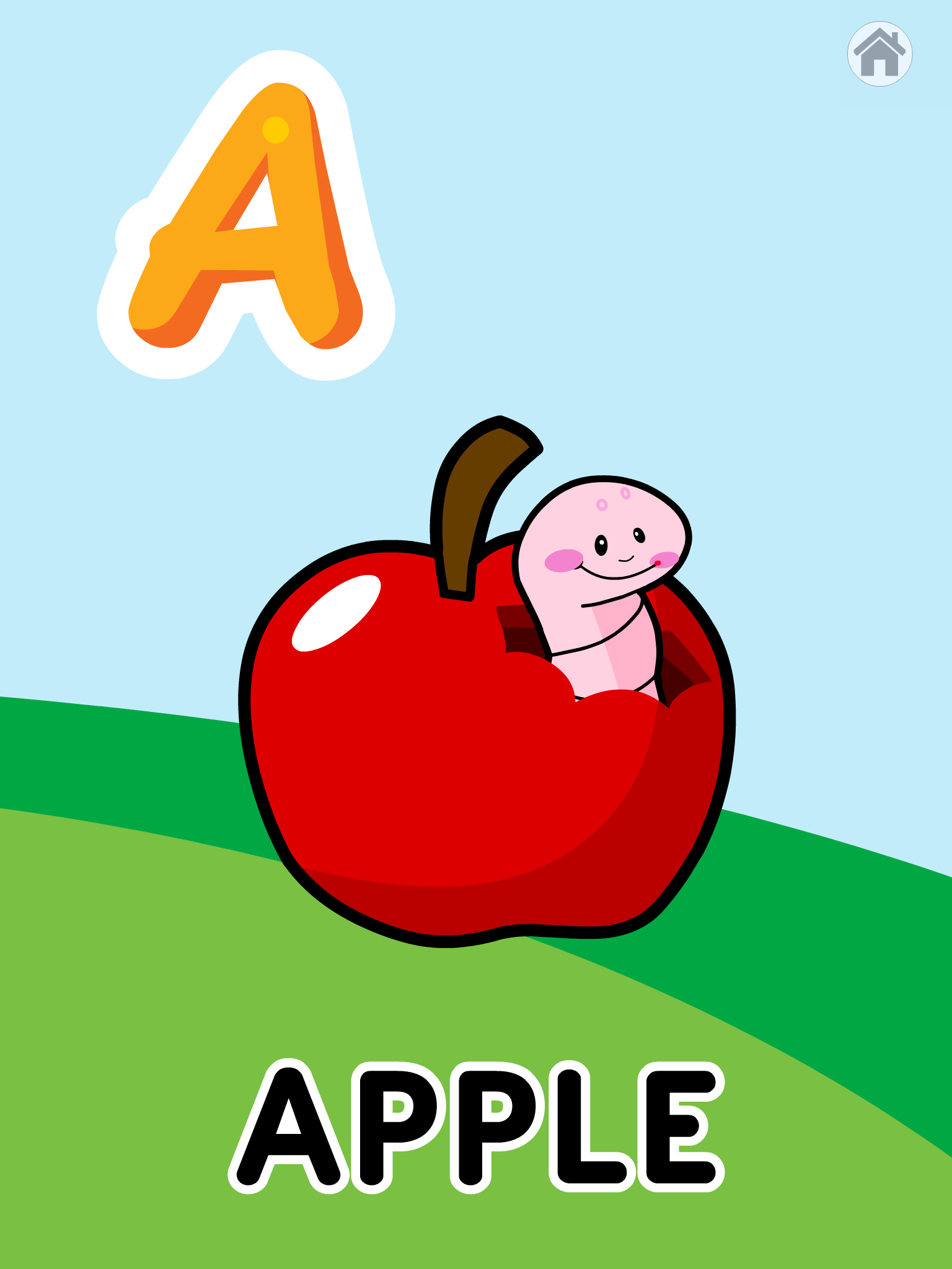 Screenshot of ABC game with the bold capital A, an apple with a smiling worm, and the word Apple.