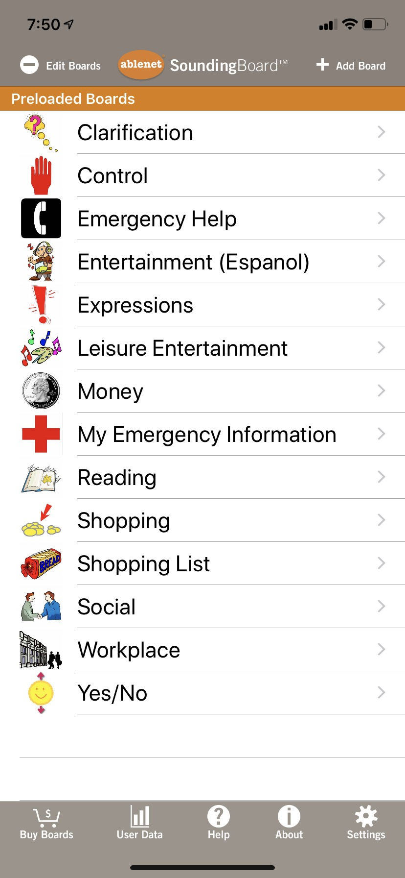 Screenshot of Preloaded Board categories: Clarification, Control, Emergency Help, Entertainment, Expressions, Leisure Entertainment, Money, My Emergency Info, Reading, Shopping, Shopping List, Social, Workplace, and Yes/No.