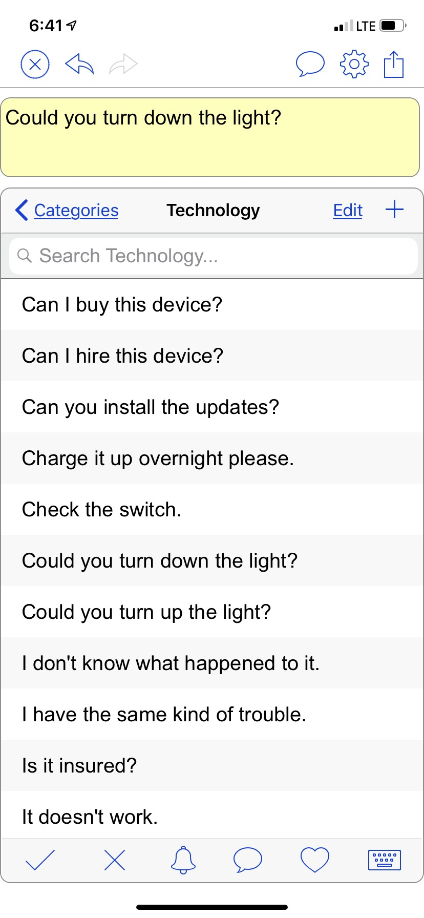 Screenshot of the technology board with questions such as, Can I buy this device? Can I hire this device? Can you install the update? Charge it overnight please, etc.