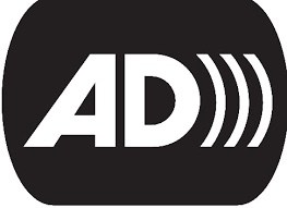 "Audio Description symbol: ""AD"" with three curved lines indicating sound."