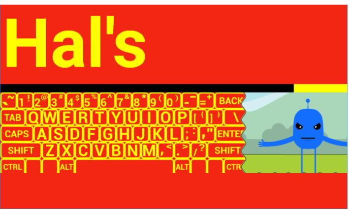 "Typio Pet Lesson: Screenshot with ""Hal's"" and image of keyboard with letters in yellow and background in red."