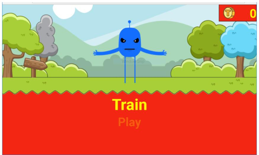 Typio Pet: screenshot shows Blue cartoon image of 'pet' with Train option selected. Second option is Play.