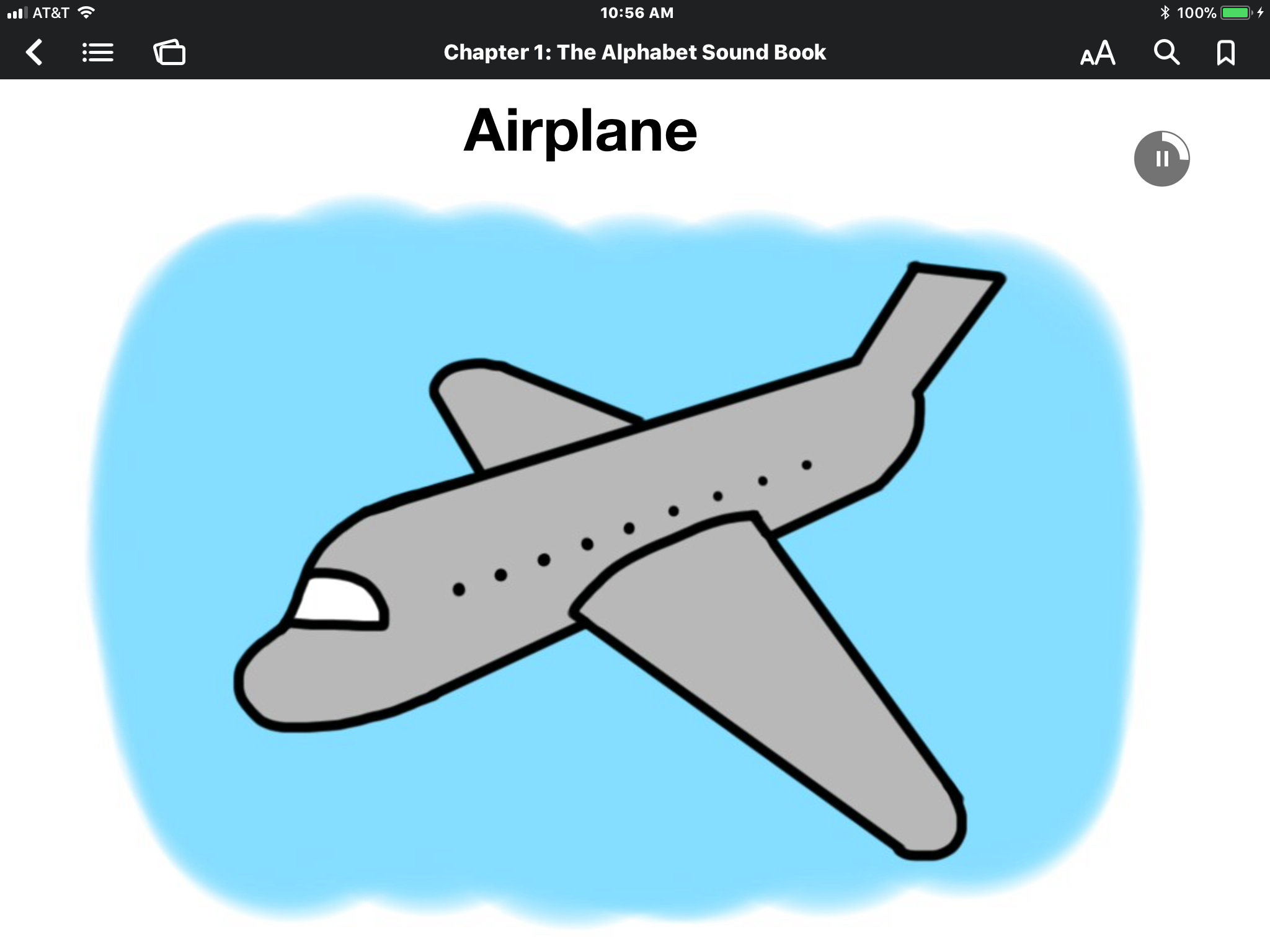 "ScreenShot of ABC iBook: cartoon drawing of grey plane on blue background with the text ""airplane"" and sound button activated."