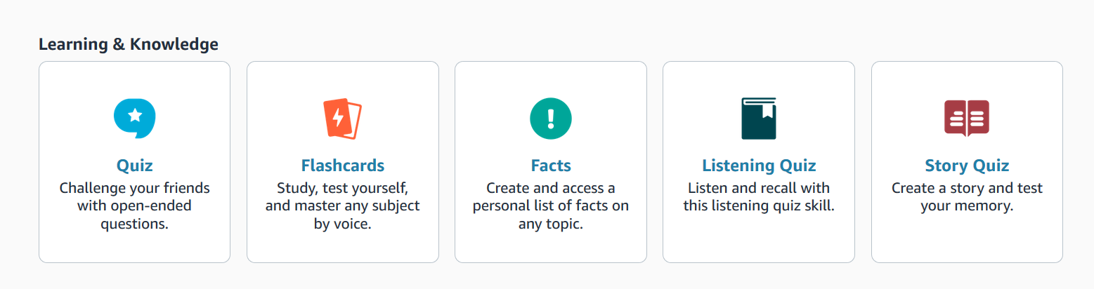 A screenshot of the education section of the Alexa Blueprint site with Quiz, Flashcards, facts listening quiz and story quiz sections.