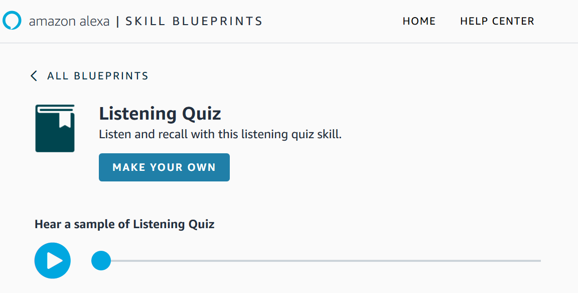 "A screenshot of the listening skill blueprint page displaying ""Listening Quiz, make your own"""