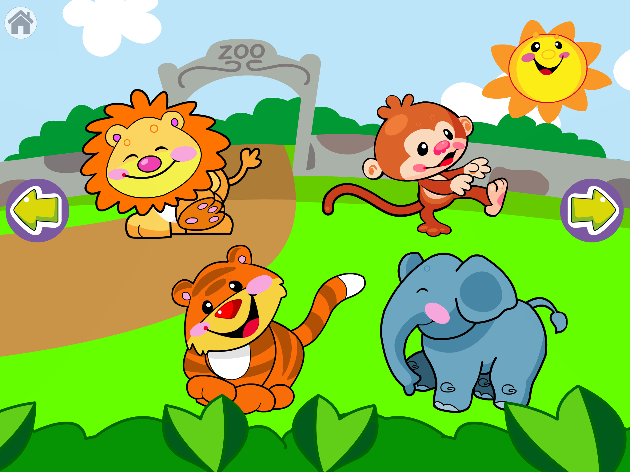 Screenshot of level 2 game with a cartoon lion, monkey, elephant and tiger each in a quadrant. Arrow keys are in the middle of the screen on the left or right edge.