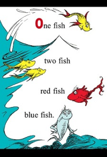 One fish, two fish, red fish, blue fish, in the waves.