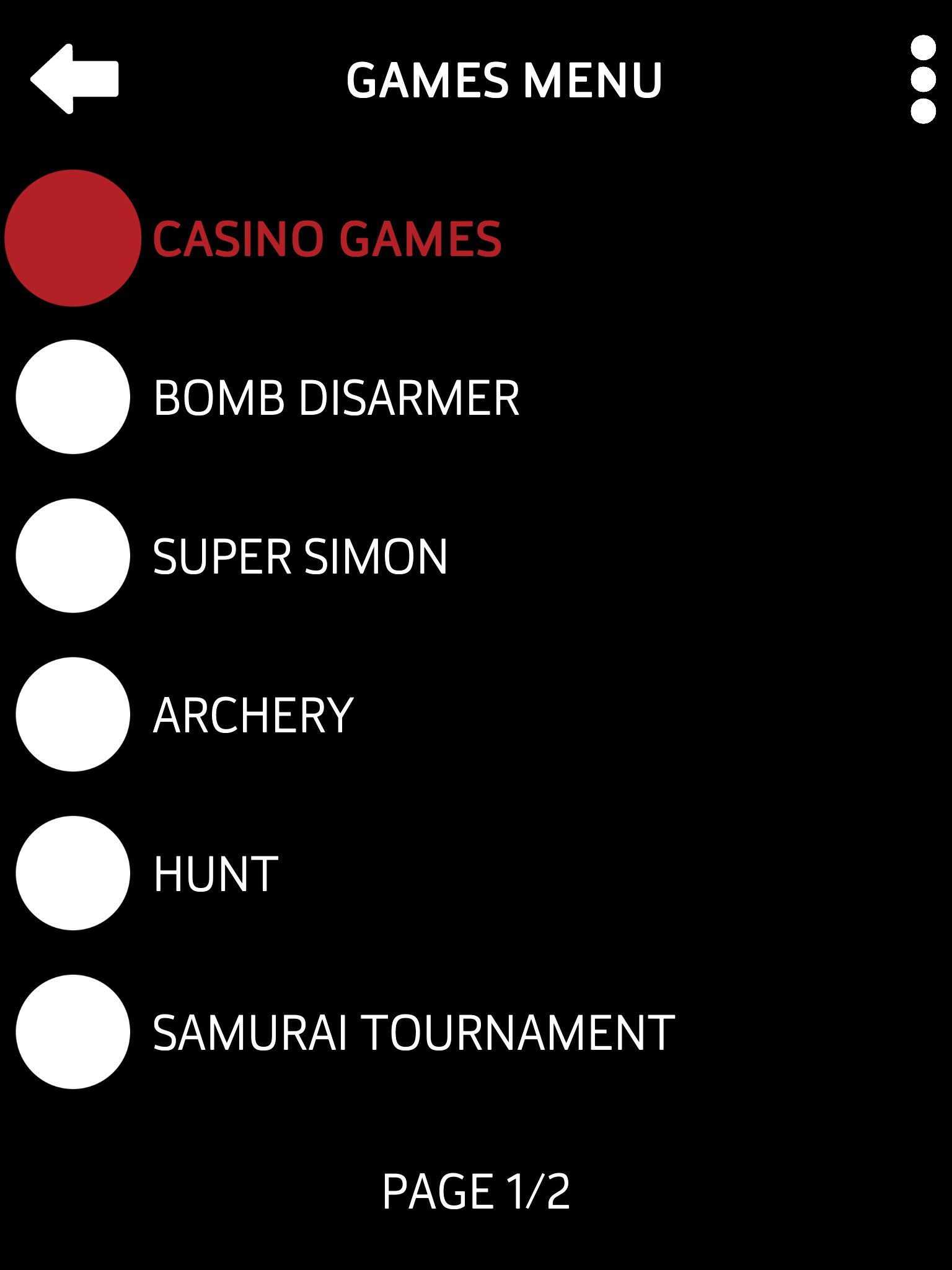 "Screenshot of Audio Game Hub displaying the Games Menu page 1 of 2. Background is black with large white text and buttons. ""Casino Games, Bomb Disarmer, Super Simon, Archery, Hunt, Samarai Tournament."