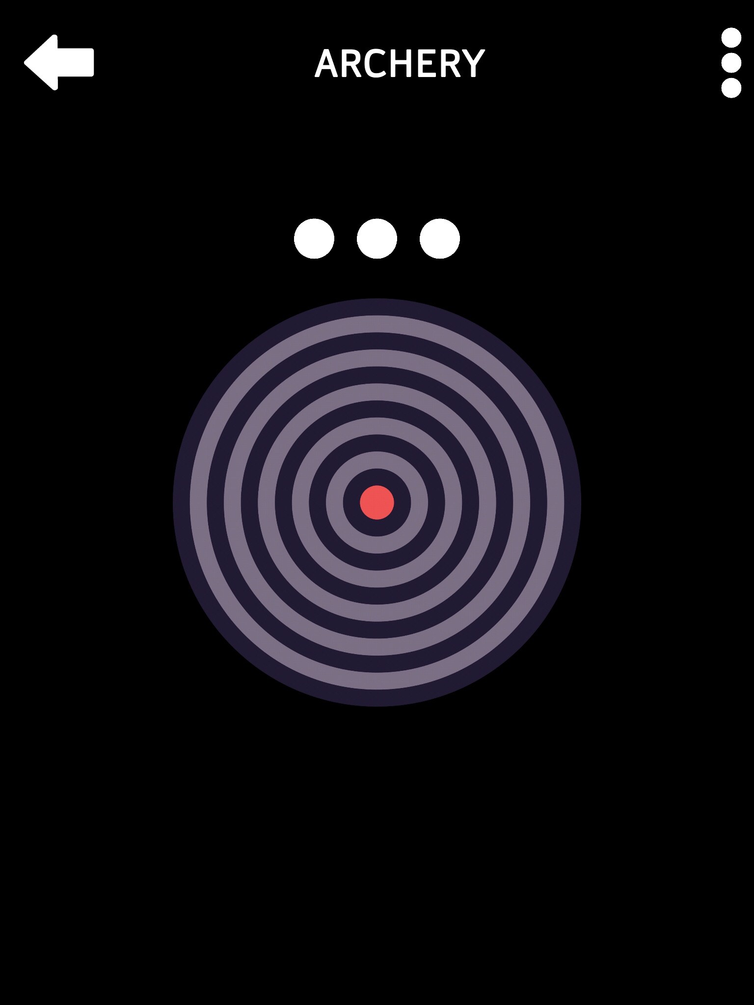 Screenshot of Audio Hub Games displaying Archery page. Black background with target. Large white Back Arrow, More button, and three circles.
