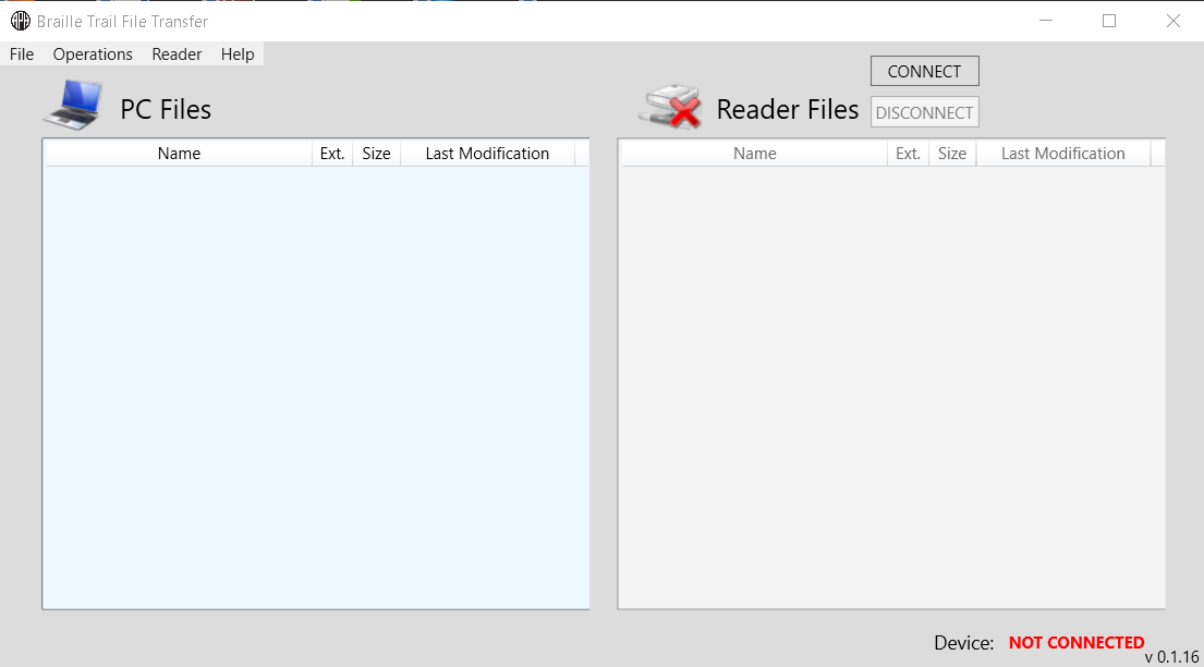 Screenshot of File Transfer Window with PC files the left and Reader Files on the right.