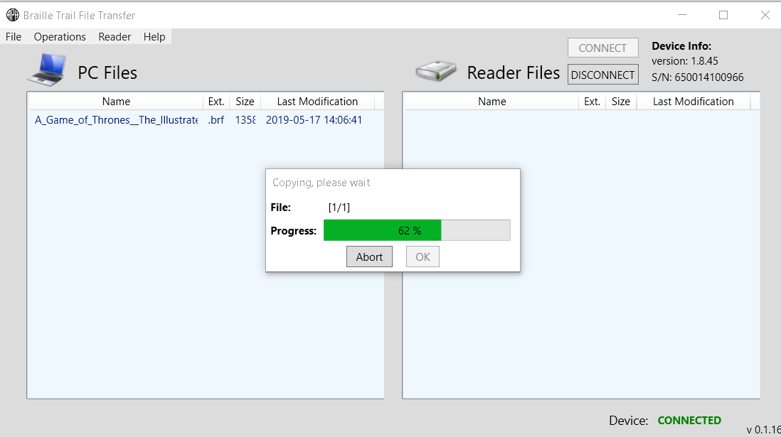 Screenshot of file transfer in progress (62%) of the file, A Game of Thrones in .brf format.