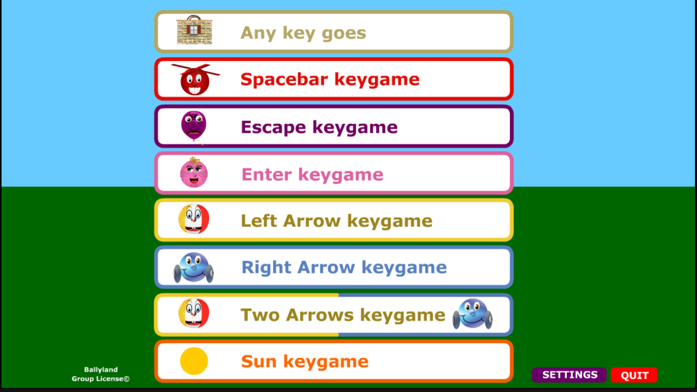 Screenshot of the Ballyland Keyboarding main menu