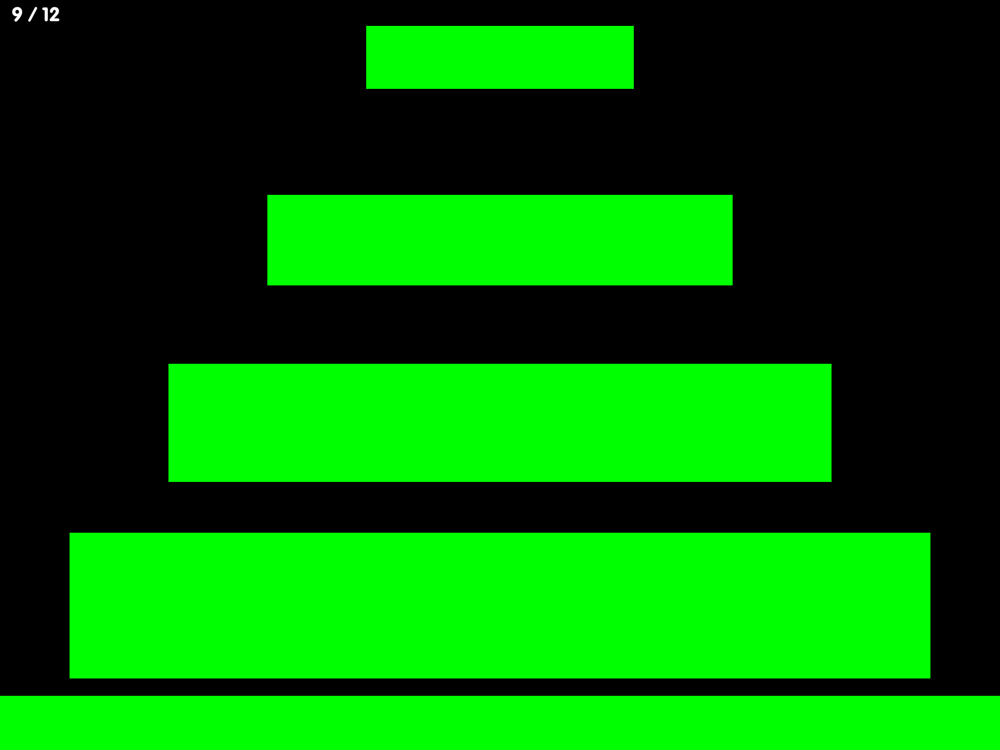 Screenshot of Big Bang Patterns: Black background with Green bars moving horizontally to the top of the screen