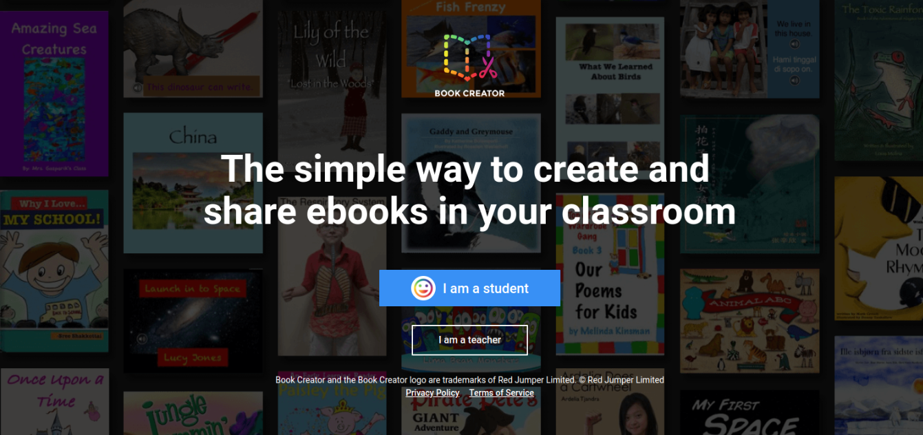 Screenshot of Book Creator sign in: I am student or I am teacher buttons.