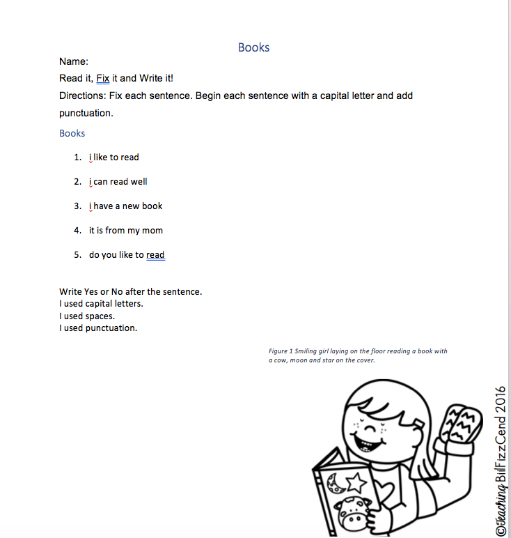 Accessible digital version of the Fix It Up Book worksheet.