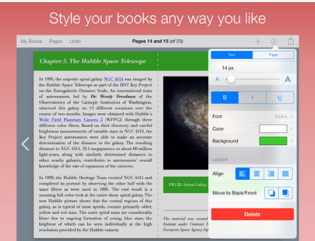 Screenshot of Book Creator app: Formatting menu open showing the ability to change font, color, alignment, etc.