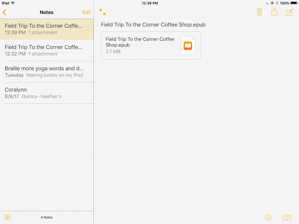 Screenshot of the Notes App: With name of iBook in the list on the left side and name and iBook ePub on the right side
