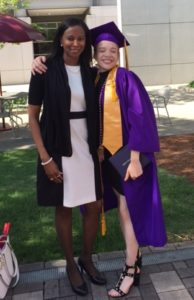 Deirdre Watkins with her student Sydney at her high school graduation.