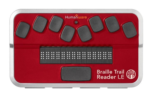 Photo of the red Braille Trail Reader LE by APH, a small 14 cell Braille Display.