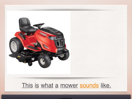 "image of a real red riding lawn mower with the text, ""This is what a mower sounds like."""