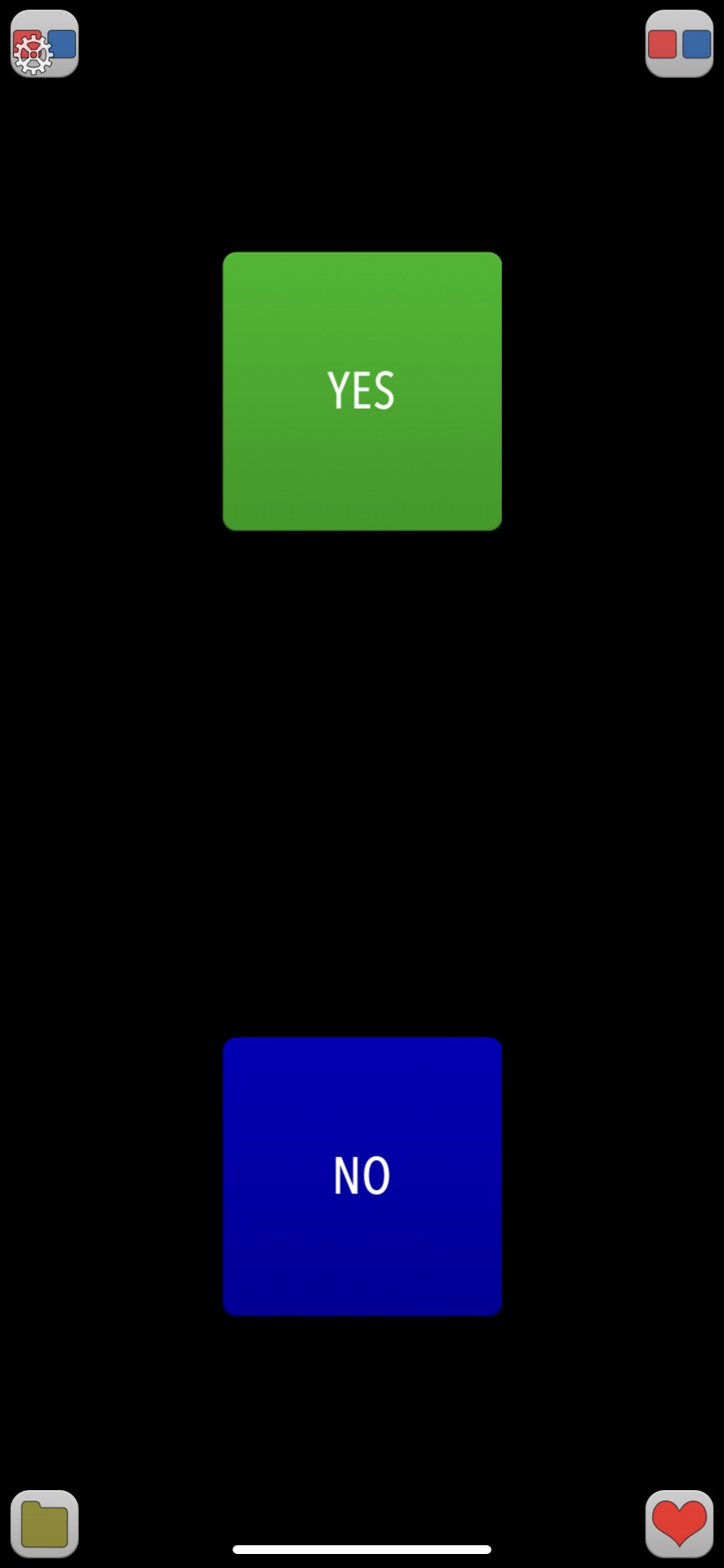 Screenshot displaying a customized large green 'Yes' square button and a large blue 'No' square button.