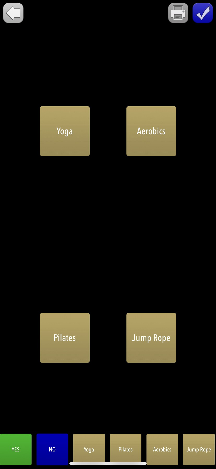 Screenshot of customized board with Yoga, Aerobics, Pilates, and Jump rope buttons and smaller buttons on the bottom of the screen: Yes, No, Yoga, Pilates, Aerobics and Jump Rope.