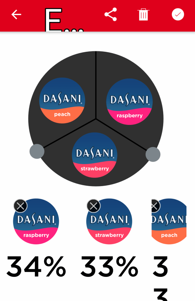 Screenshot of magnified Coca-Cola Freestyle app showing three Dasani water flavors and the percentages of each.