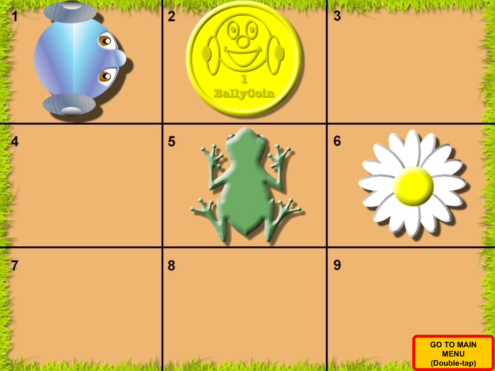 Screenshot of Code 3: 3x3 grid with Wheelie in top left, coin, frog and flower in other squares.