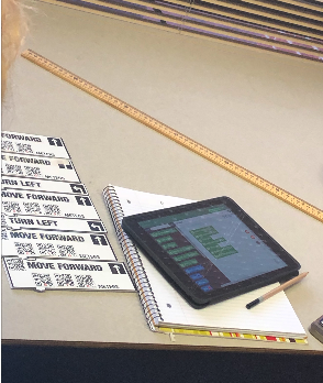 Code Blocks laid out vertically on the table, with an iPad displaying the CodeSnaps app.