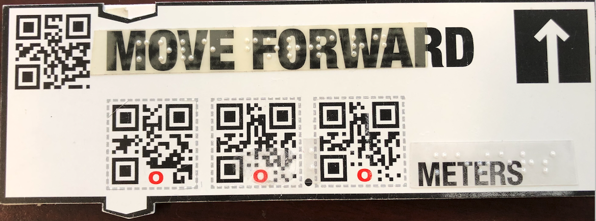 Modified Move Forward code block: Move Forward, 3 QR code squares, and meters in braille.