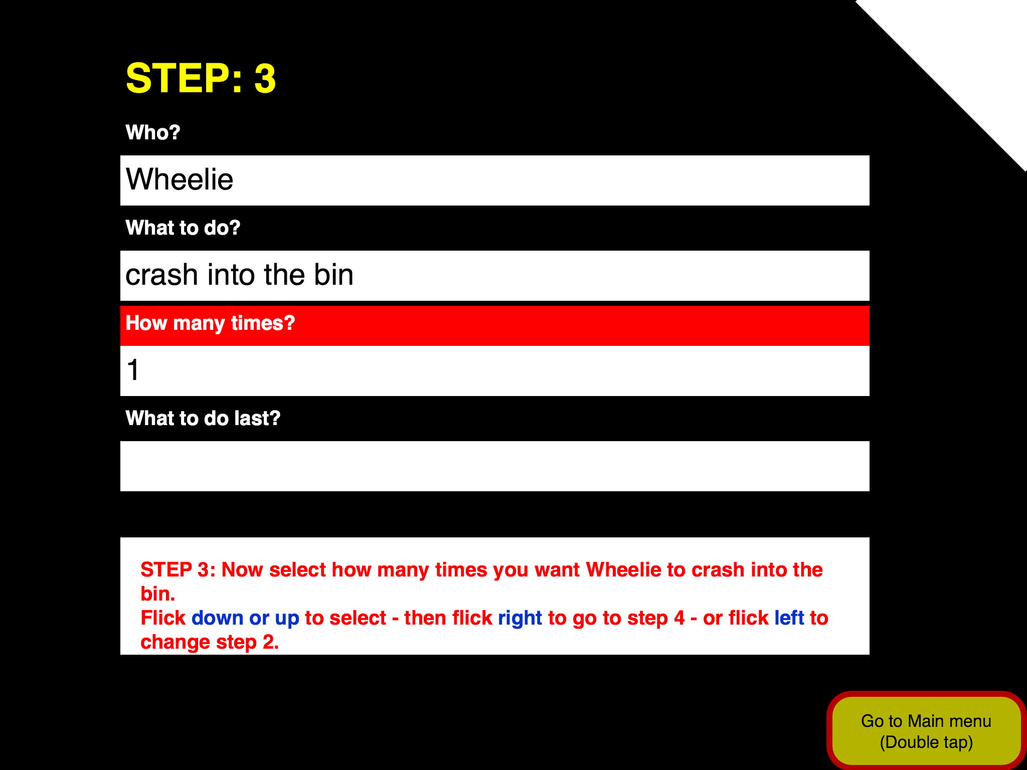 "Screenshot of Ballyland Code, Tutorial page: List of questions with the first two options selected: ""Wheelie"" and ""crash into the bin""."
