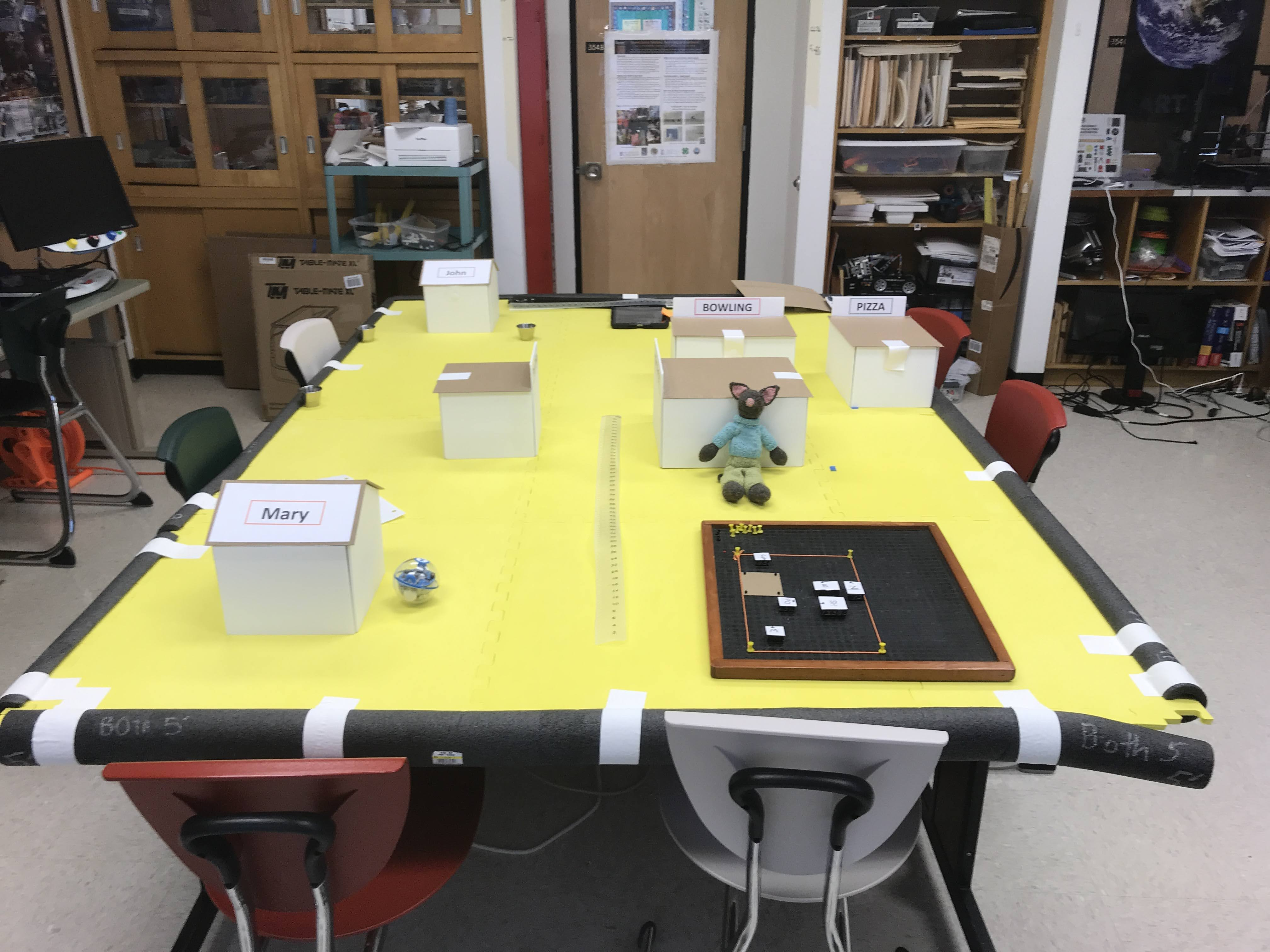 Photo of Small City: long table with boxes for buildings, metal cups, and APH Graph Board with model to scale.
