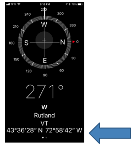 "Screenshot of Compass with North pointing to 3:00 and text, '271degrees, W Rutland, VT 43 degrees 36'28""N  72 degrees 58'42""W"""