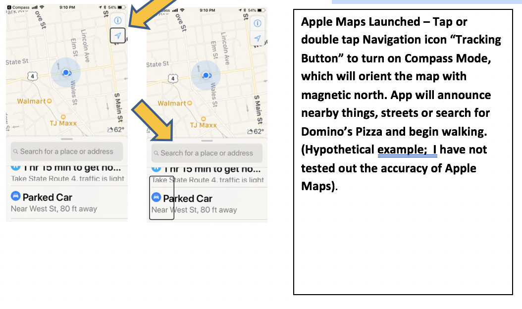2 Screenshots of Apple Maps with arrow pointing to Navigation button and arrow pointing to Search textfield.