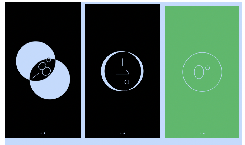 three screenshots of Compass App; Two overlapping white circles on black background with -8 degrees in overlap; black circle with -1 on top of white circle on black background; outline of a circle with 0 degrees on green background.
