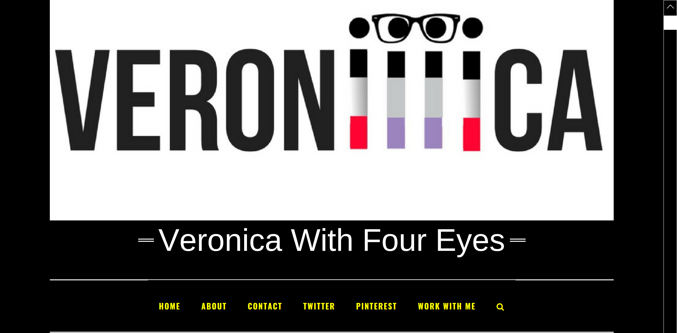 Veronica with four eyes logo in full color on a black background, with white text spelling out the website name and yellow text showing the different web pages