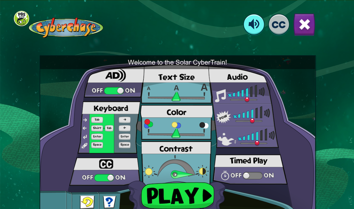 Screenshot of Railway Hero control page for accessibility options.