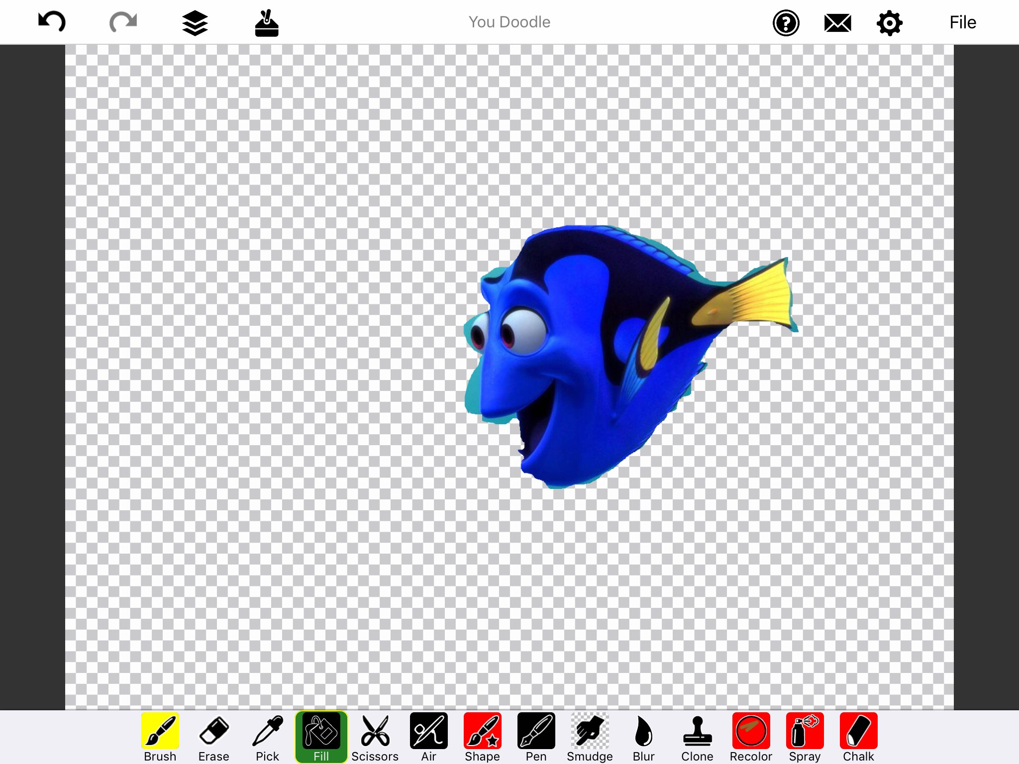 Screenshot of You Doodle app of Dory with blank background and tool bar at the bottom of the page.