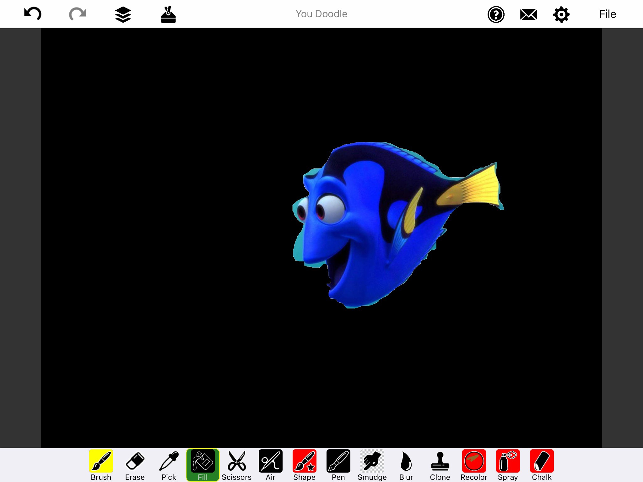 Screenshot of You Doodle app with Dory on a solid black background.