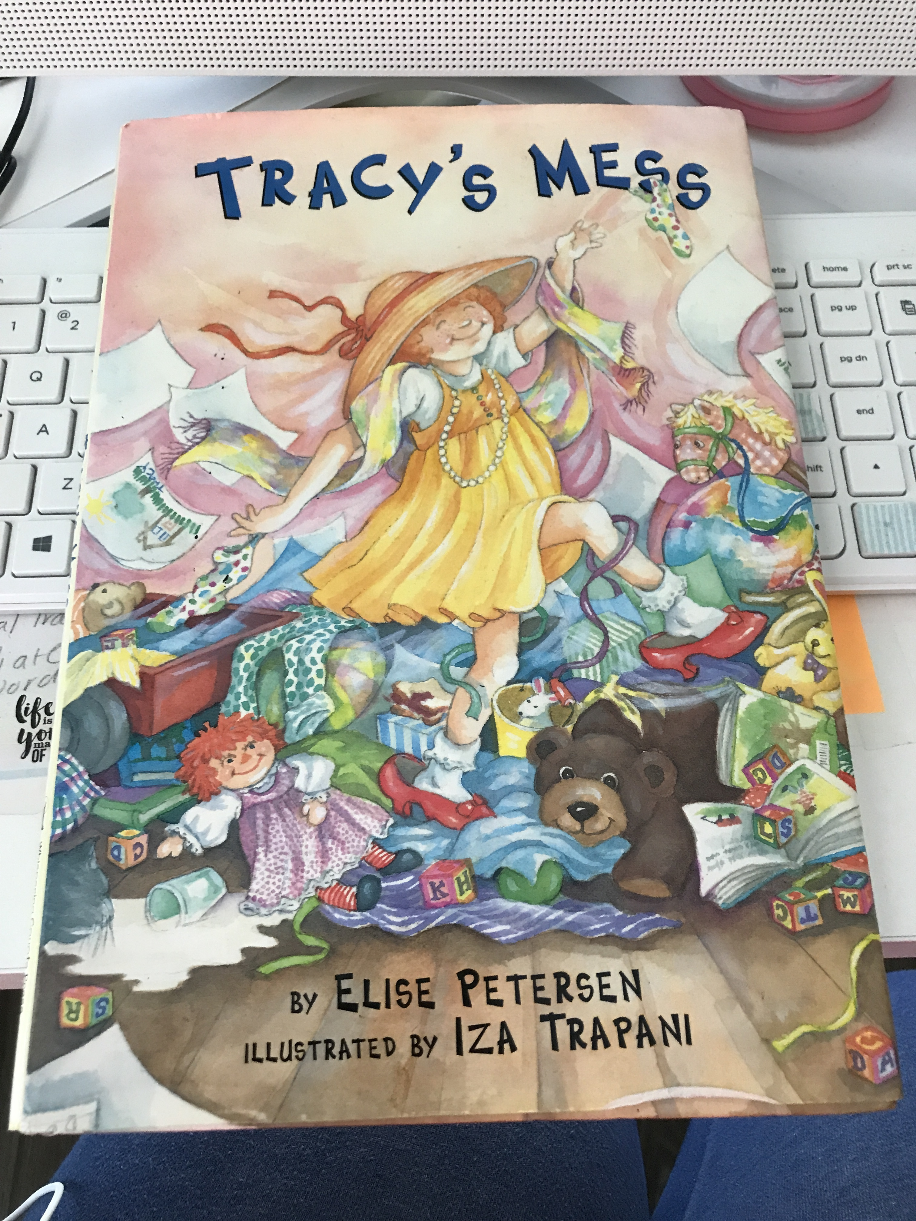 Screenshot of book cover with visual clutter: Trac.y's Mess by Elise Petersen