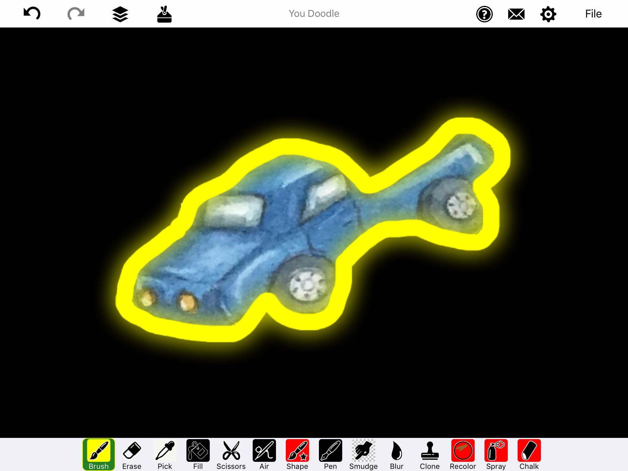 Screenshot of You Doodle App displaying blue truck with maximum yellow glow outline on black background
