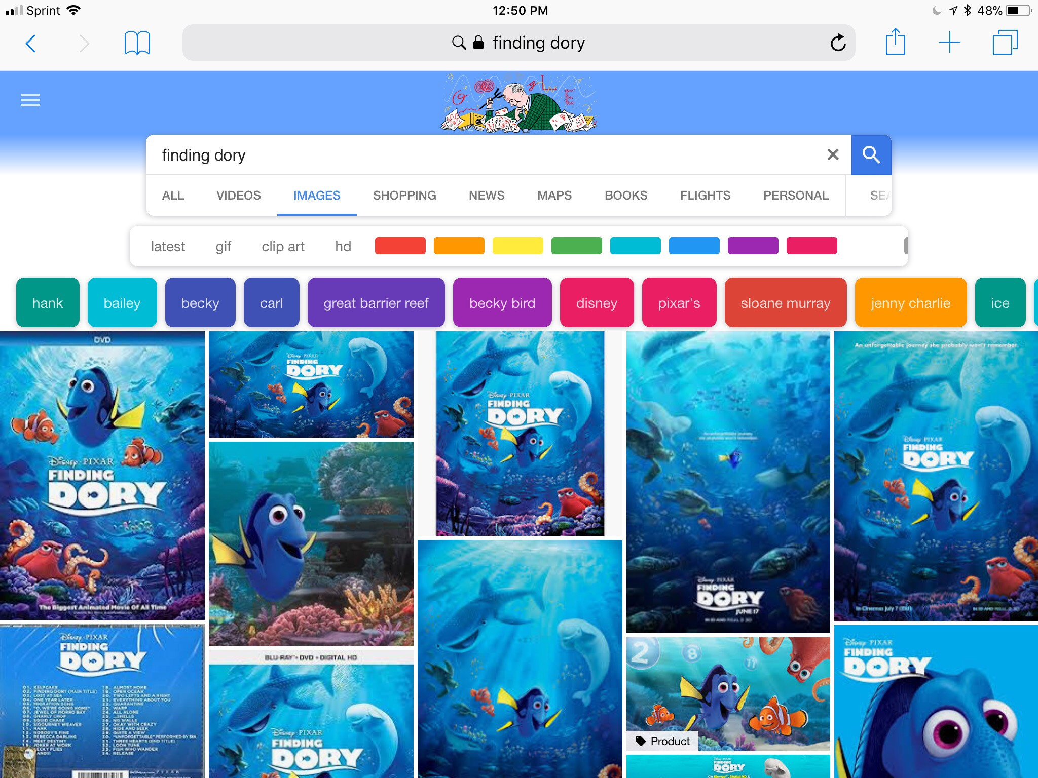 Screenshot of available Finding Dory images during a  Google Internet search.
