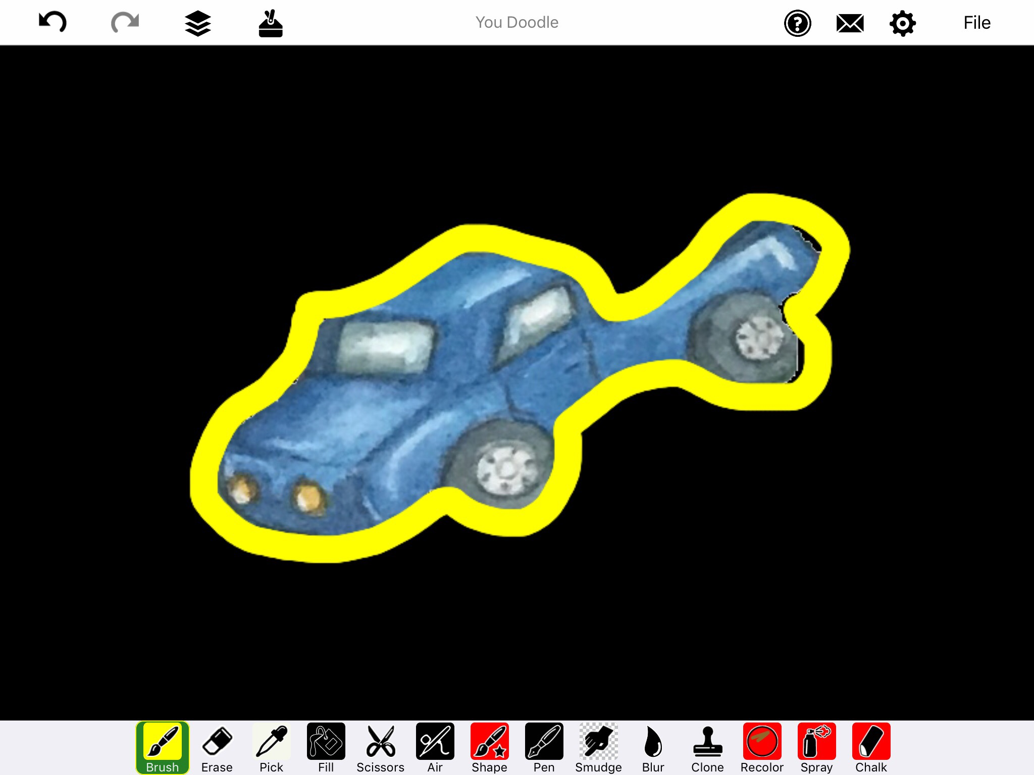 Screenshot of You Doodle app with blue truck with less Glow yellow outline on black background.