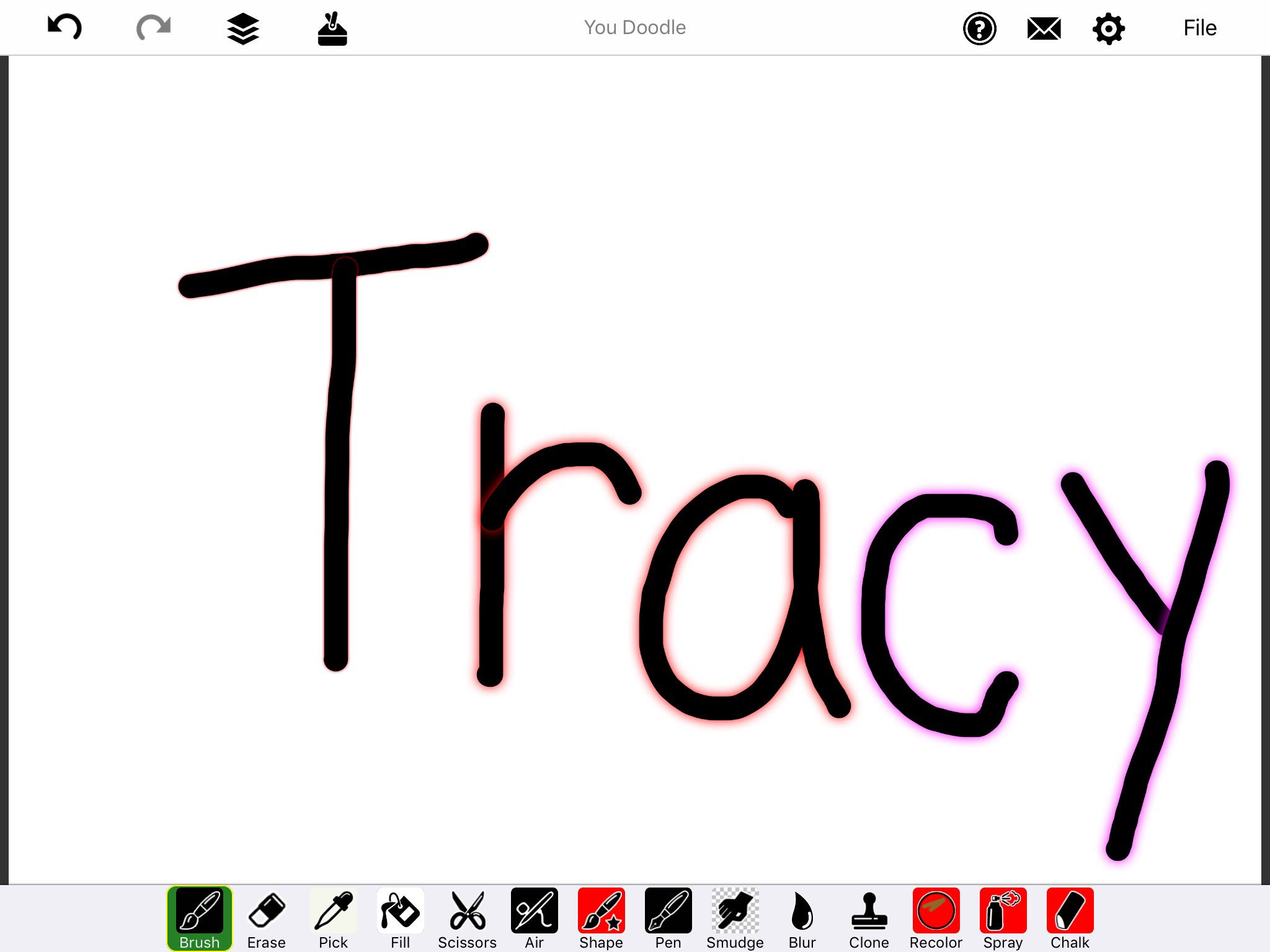 "Screenshot of You Doodle App with hand drawn word, ""Tracy"" in black with red glow outline."