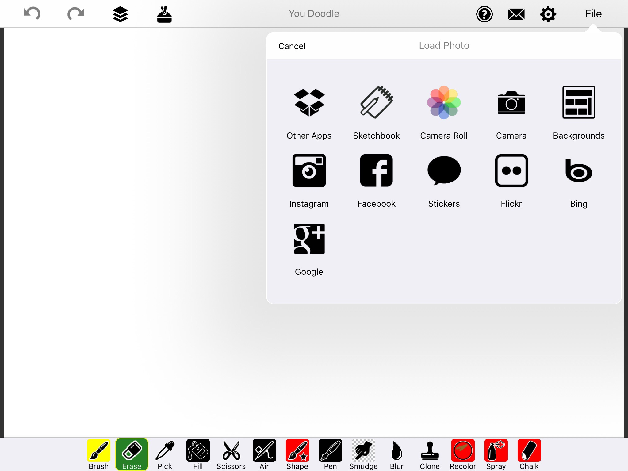 Screenshot of You Doodle with popup menu and Camera Roll option.