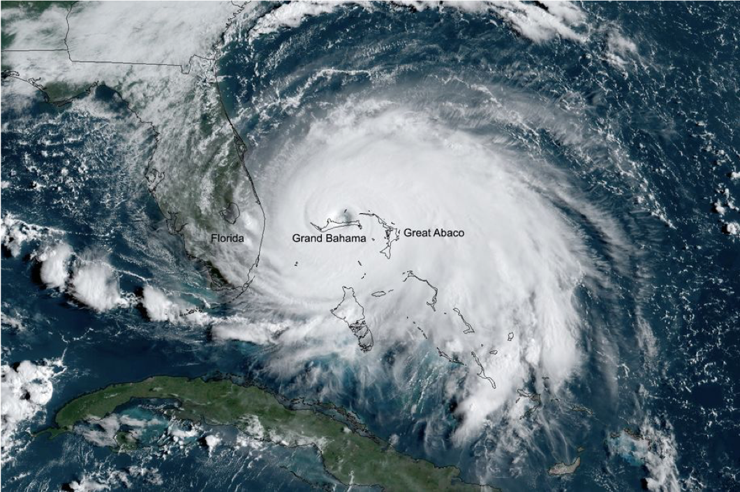 Satellite image of Hurricane Dorian with the eye directly over The Bahamas.