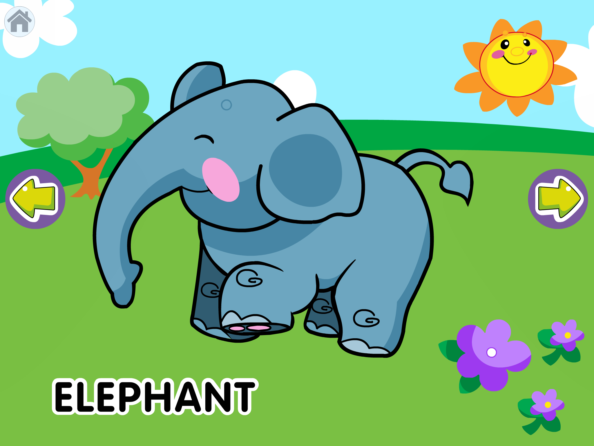 "Screenshot of Animal Sounds app, with a cartoon elephant in the center, a tree in the upper left, sun upper right, flowers lower right, and the word ""bear"" in the lower left. Arrow keys are in the middle on the left and right sides of the screen."